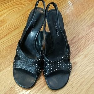 Calvin Klein CK black leather studded wedges 6.5